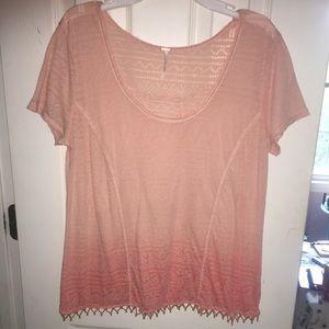 Free People Ombre Orange Short Sleeve Top